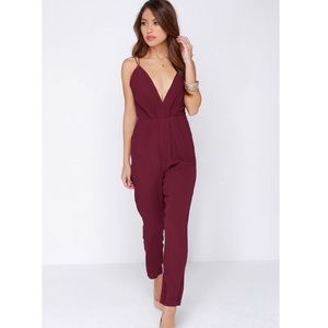 Lovers + Friends My Way Burgundy Jumpsuit Pockets